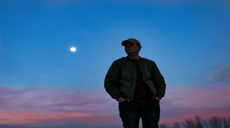 homme, lune, ciel