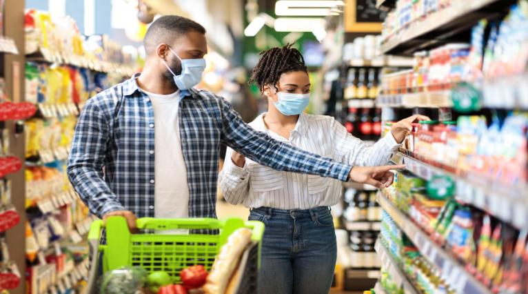 rayon, supermarché, consommateurs