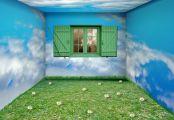 Pièce tapissé par du papier peint nature