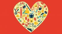 Coeur dessiné rempli d'objets divers