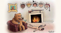 Un ours est assis sur une peau d'humain