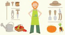 Illustration d'un jardinier bio et de ses outils