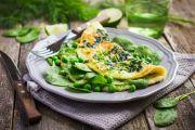 Omelette aux épinards et petits pois