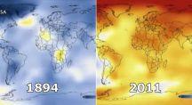 Comparatif de vues satellite planétaire entre 1894 et 2011