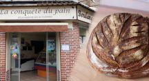 Façade de la boulangerie bio avec un pain bio