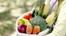 des fruits et légumes dans un panier tenu par une femme