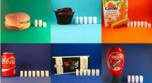 des morceaux de sucre représentent la quantité de sucre d'aliments