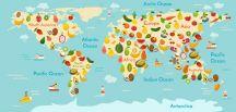 carte du monde avec les différents fruits et légumes