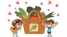 Un jeune garçon tente de convaincre une jeune fille de manger des légumes