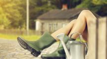 femme botte jardin