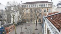 arbres dans une cour d'école