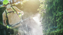 jardinier répandant pesticides