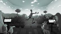 Illustration d'un homme fuyant un danger dans la savane
