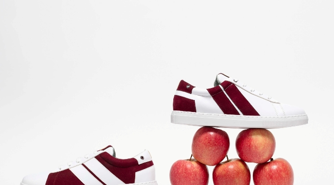 baskets en cuir de pomme