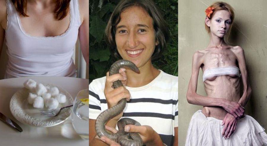 femme qui mange du coton, femme qui mange un insecte, femme anorexique