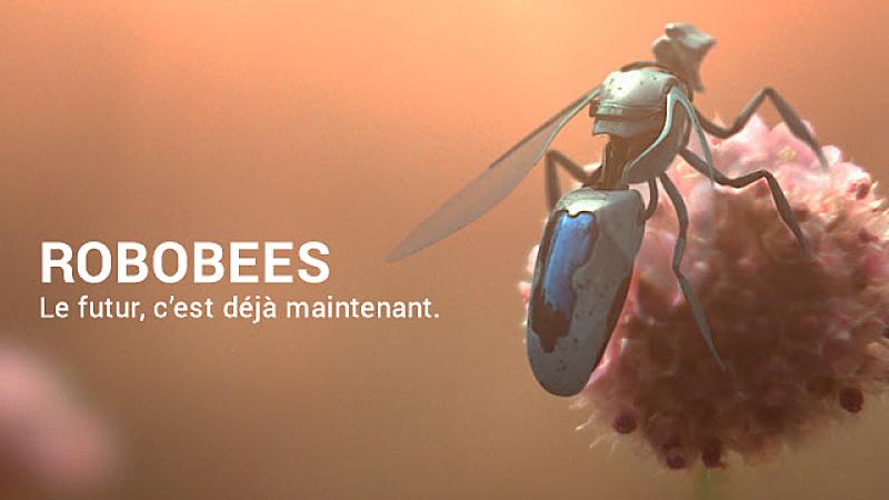 Un robot-abeille posé sur une fleur + slogan