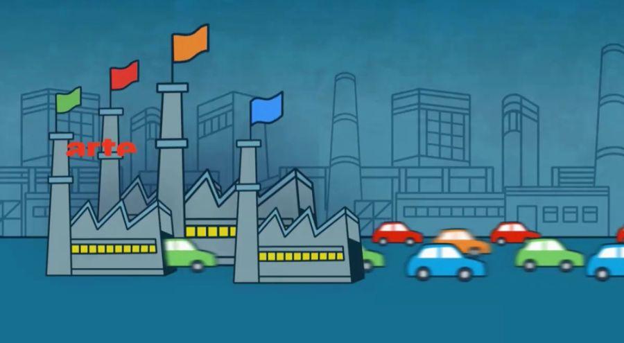 Dessin de voitures sortant en masse d'une usine
