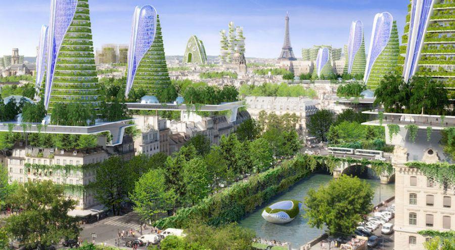 Vue de Paris en 2050 par l'architecte Vincent Callebaut
