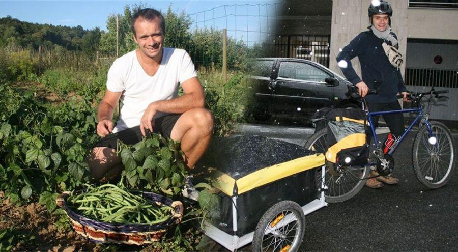 Alexandre dans son exploitation bio de l'Oise et sur son vélo pour la livraison
