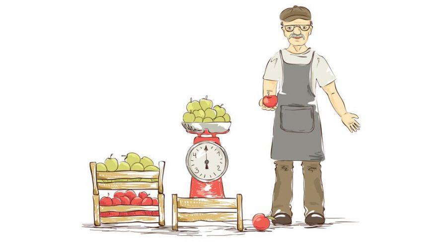 Illustration d'un maraîcher vendant ses pommes