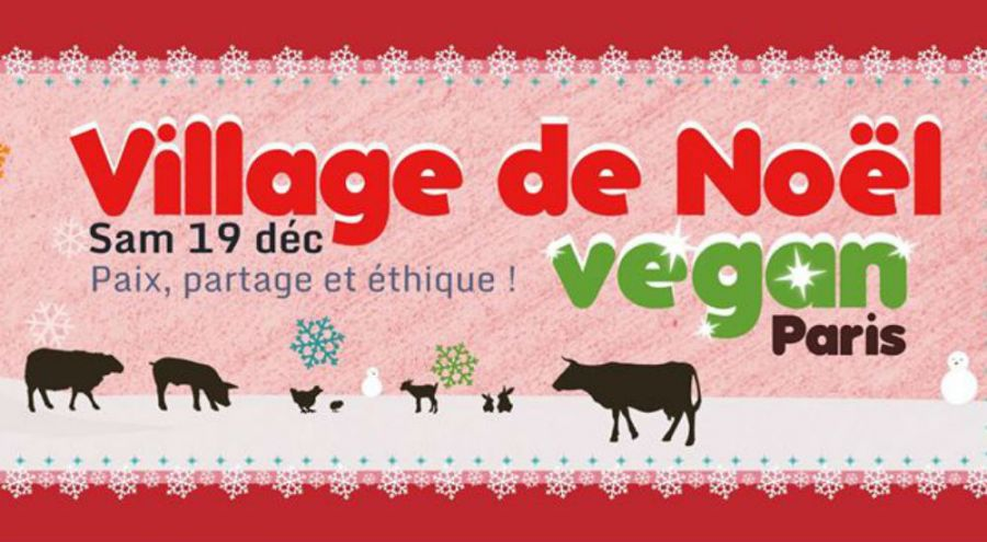 affiche du village de Noël vegan de l'association L214