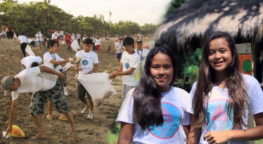 des enfants ramassent des déchets sur les plages de Bali