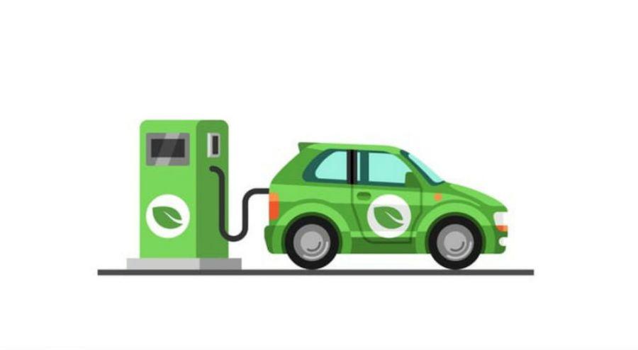 dessin d'une voiture à une station essence verte