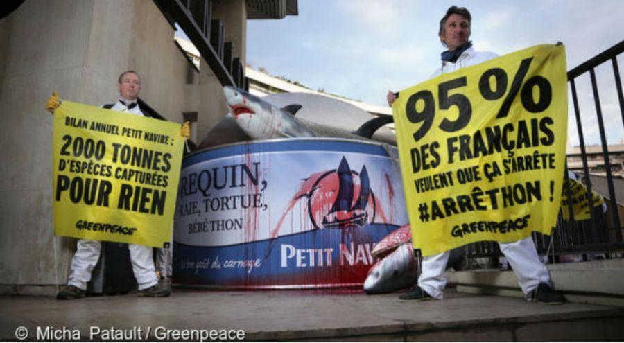 des militants Greenpeace milite sur l'usine Petit Navire