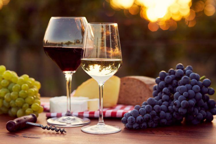 deux verres de vins posés sur une table avec des grappes de raisin