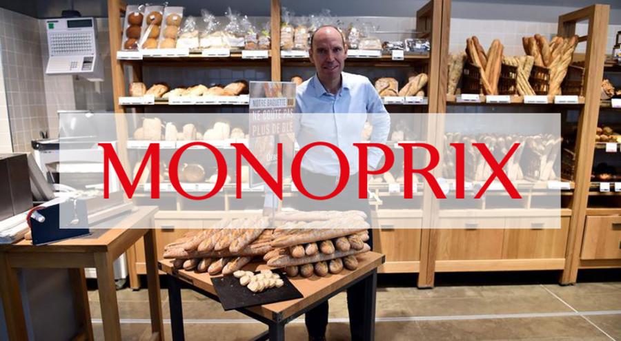 Régis Schultz dans un rayon boulangerie chez Monoprix