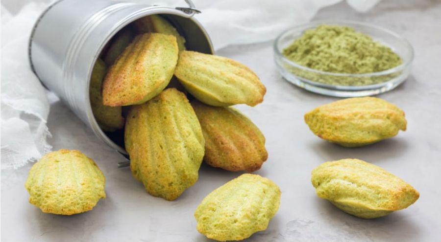 des madeleines à base de thé vert matcha