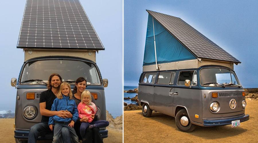 Cette famille voyage en autosuffisance en Combi Volkswagen.