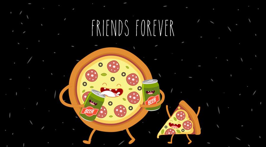 Illustration d'une pizza marchant une bière à la main