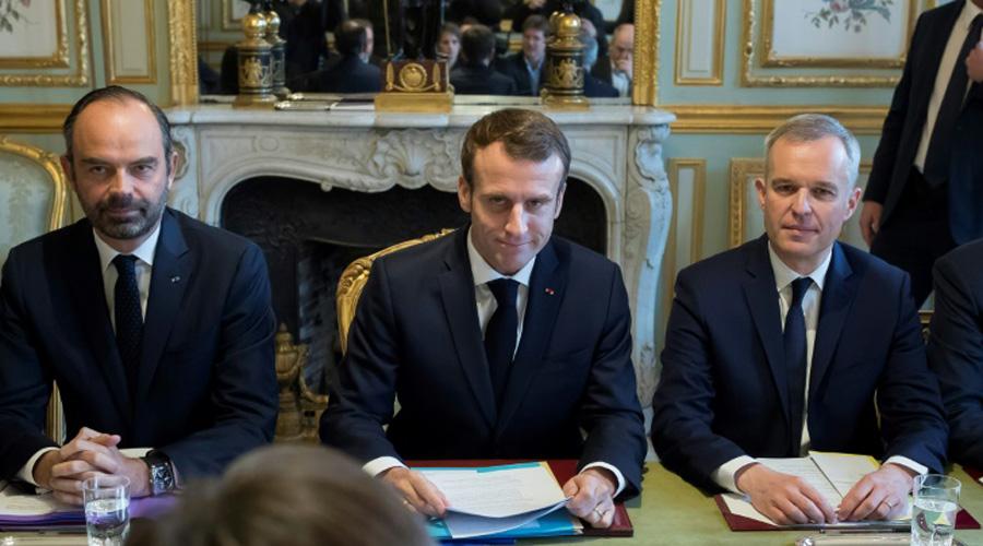 Emmanuel Macron, le Premier ministre Edouard Philippe et François de Rugy, ministre de l'Ecologie