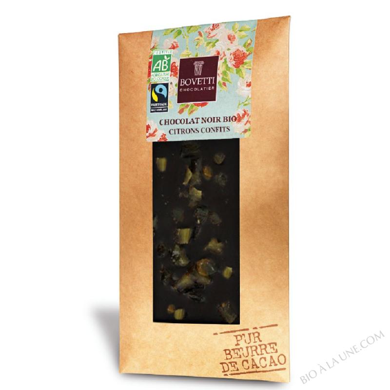 Chocolat noir citrons confits - Bovetti - 100 g