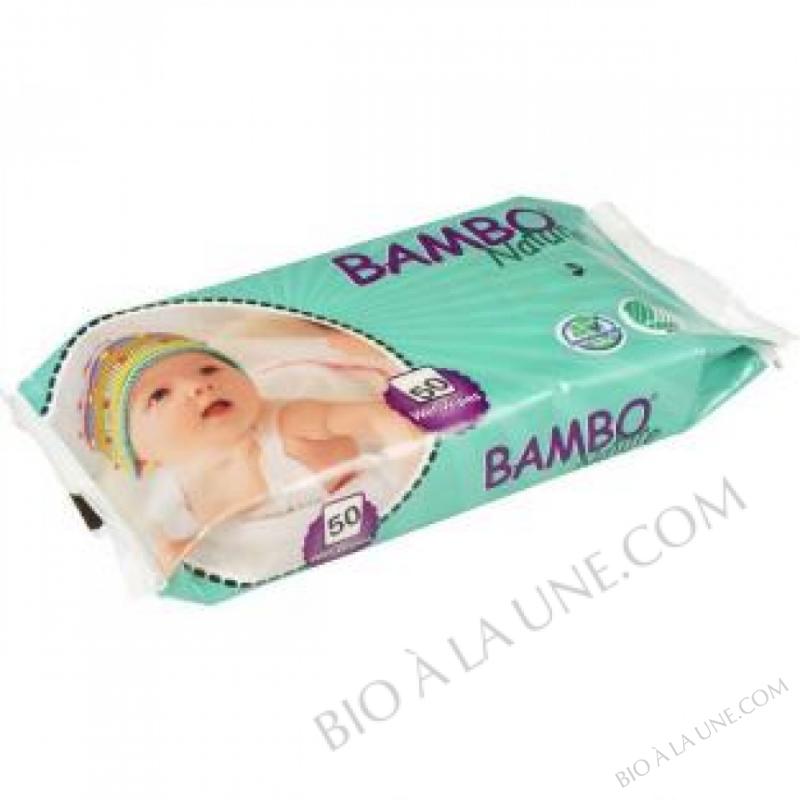 50 Lingettes Bebe sans parfum Bambo Nature