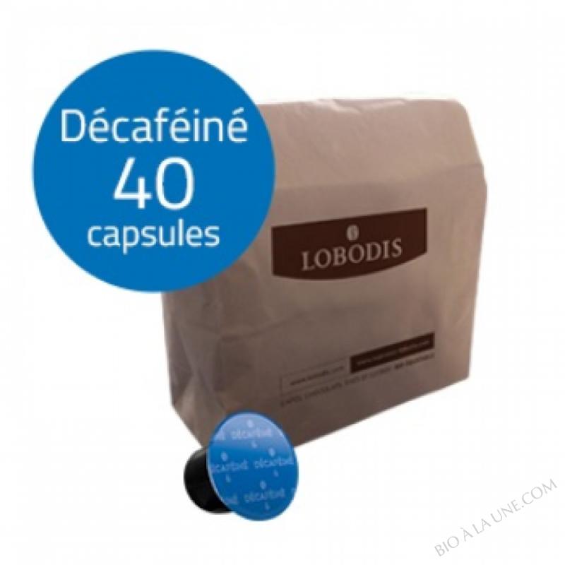 Capsules de café DECAFEINE compatibles Nespresso-sans solvant - Lobodis - 40 capsules