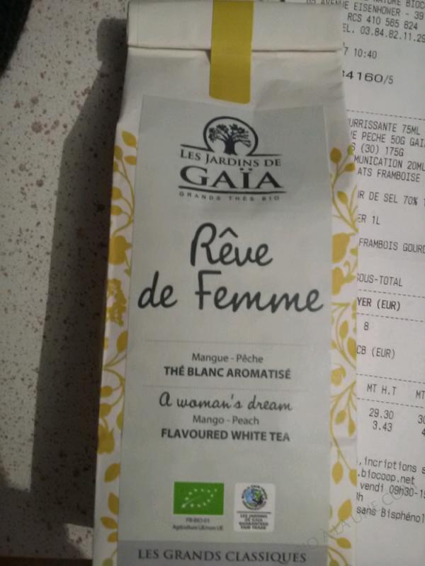 Thé Blanc Bio Parfumé Rêve De Femme Mangue Pêche Jardins De Gaïa - 50 G