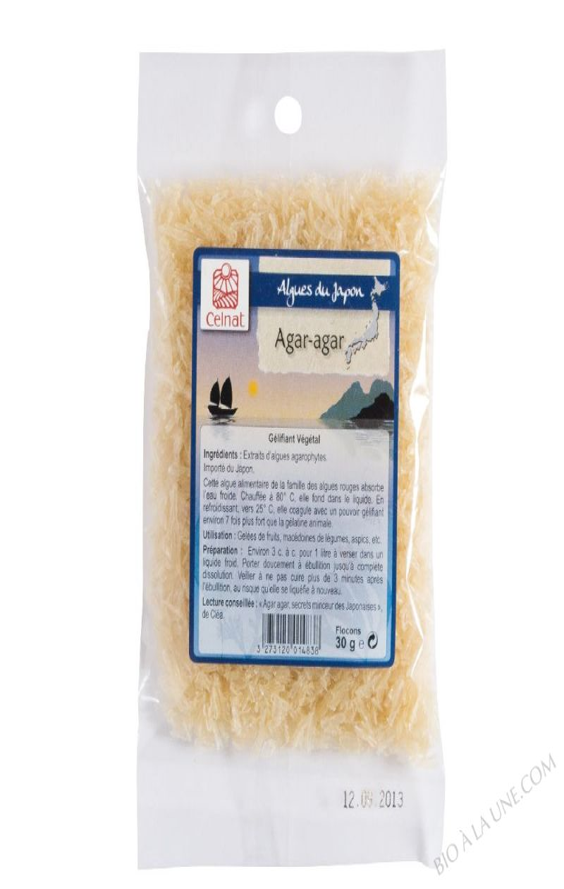 CELNAT Agar-Agar - Gélifiant Végétal -flocons 30g