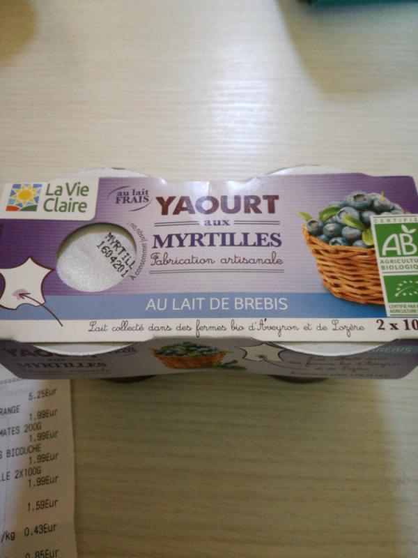 Yaourt aux Myrtilles au Lait de Brebis - La Vie Claire - 200 g (2 * 100 g)