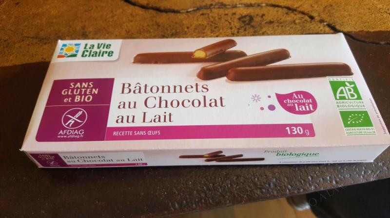 BÂTONNET AU CHOCOLAT AU LAIT SANS GLUTEN - LA VIE CLAIRE -130 G