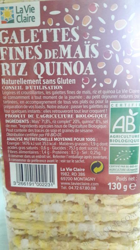 Galettes fines de mais, riz et quinoa - 130g