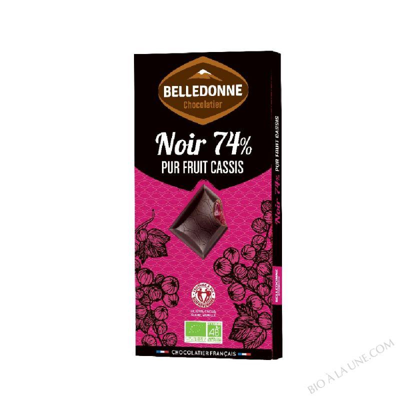 Tablette Chocolat Noir 74% fourrée Cassis
