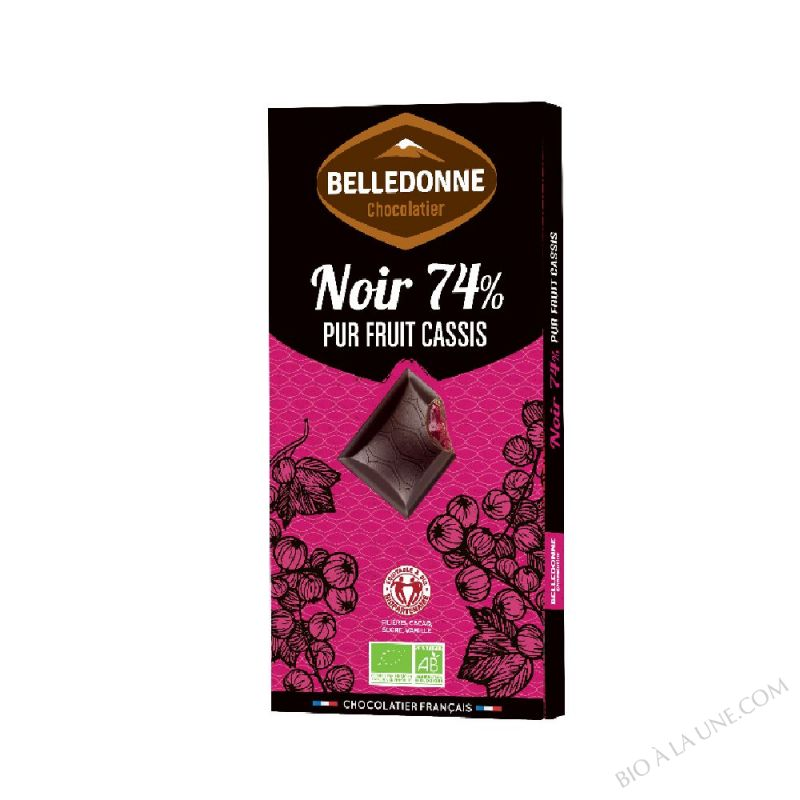 TABLETTE NOIR 74% PUR FRUIT CASSIS