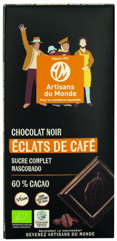CHOCOLAT NOIR AUX ÉCLATS DE CAFÉ - 100G