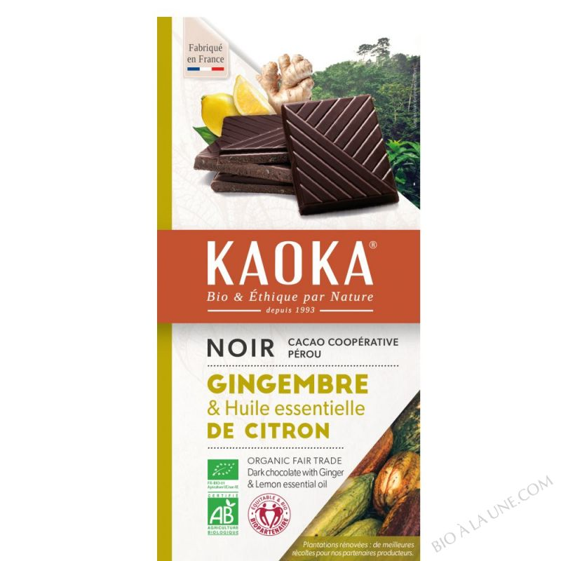 CHOCOLAT NOIR CITRON / GINGEMBRE - 100g