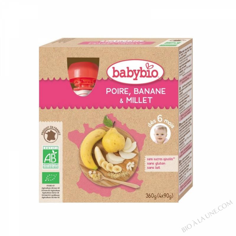 4 Gourdes Poire Banane Millet des 6 mois