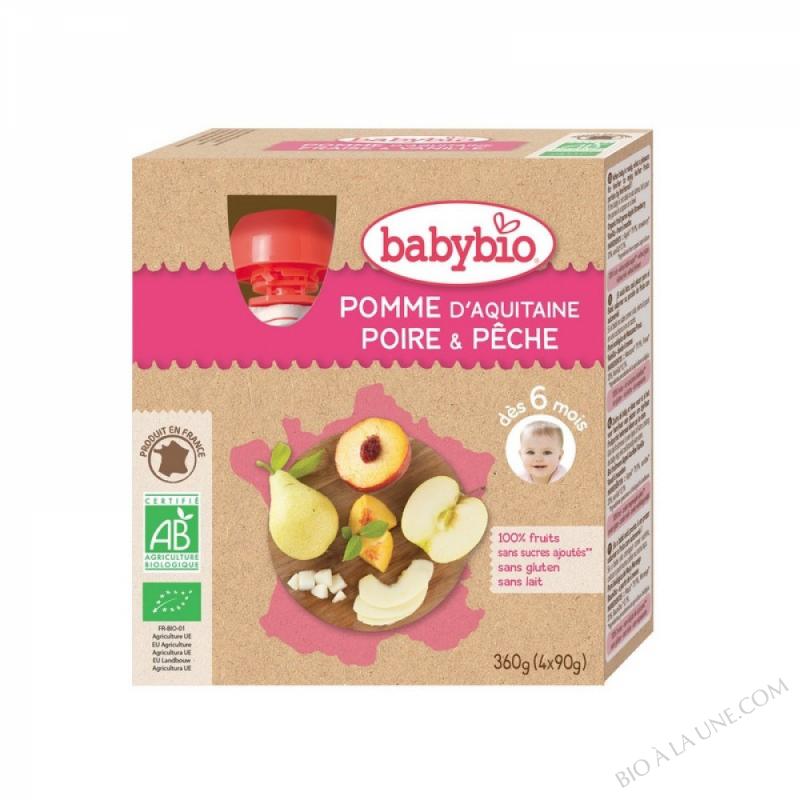 BABYBIO Gourde Pomme Poire Pêche