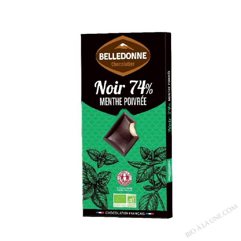 Tablette Chocolat Noir 74% fourrée menthe