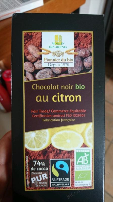 CHOCOLAT NOIR 74% AU CITRON BIO - 100G